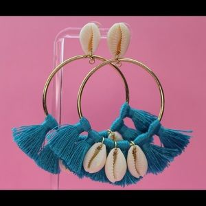 Cowrie shell tassel hoop earrings